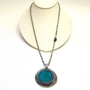 Blue Druzy Pendant Chain Necklace